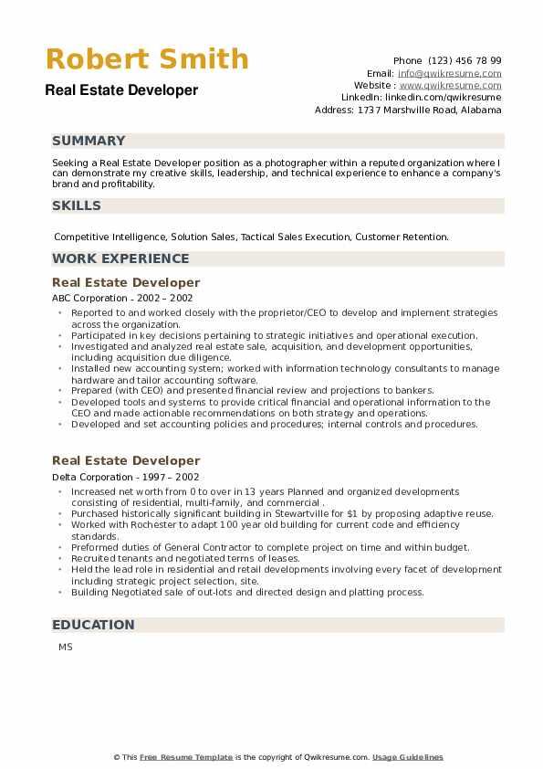 Real Estate Developer Resume example
