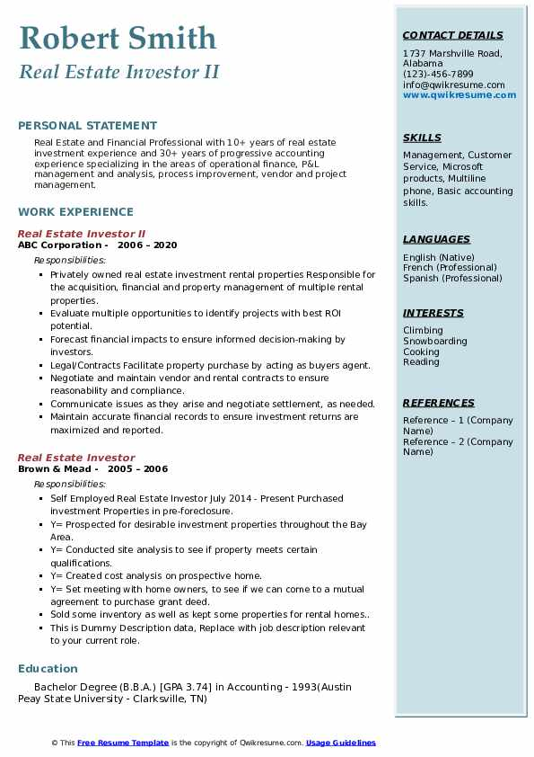real estate investor resume samples