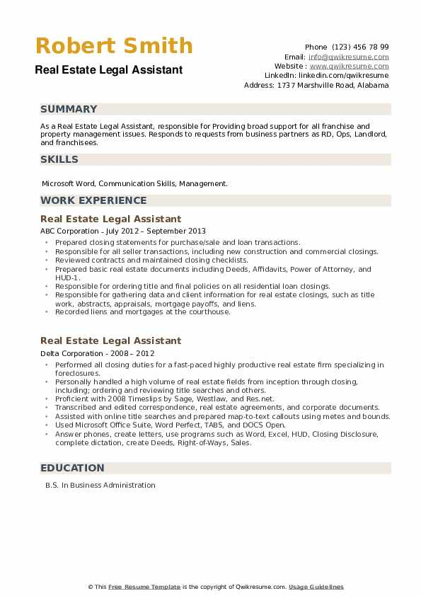 Real Estate Legal Assistant Resume example