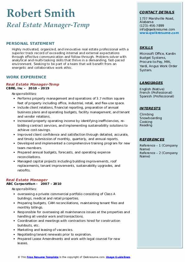 Real Estate Manager-Temp Resume Example