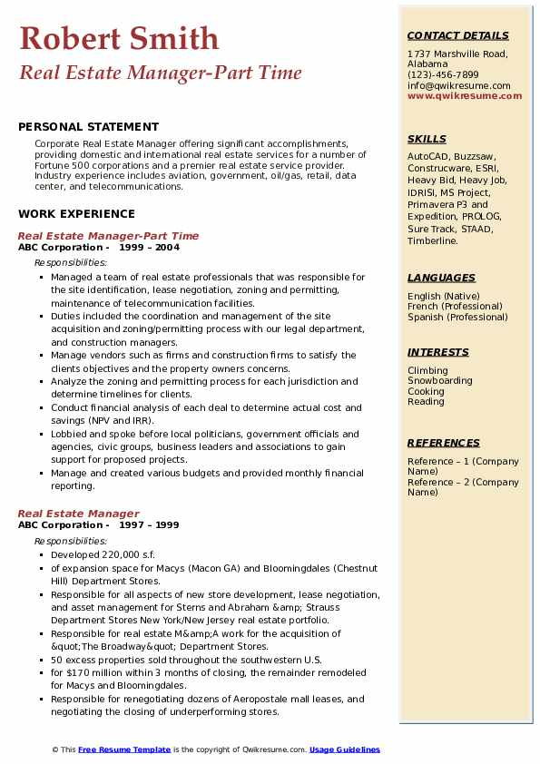 Real Estate Manager-Part Time Resume Template