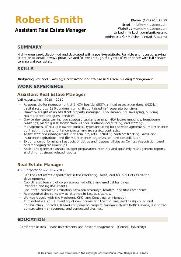 Assistant Real Estate Manager Resume Example