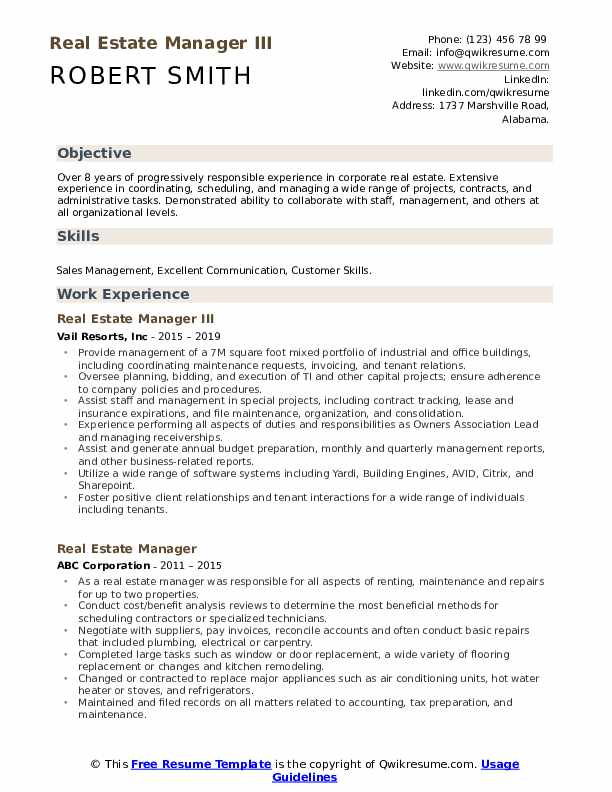 Real Estate Manager III Resume Example