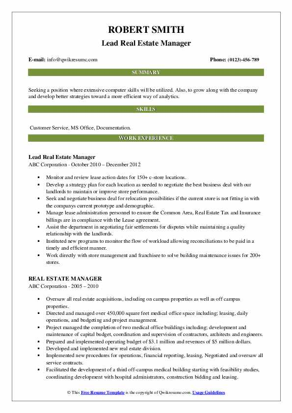 Lead Real Estate Manager Resume Template