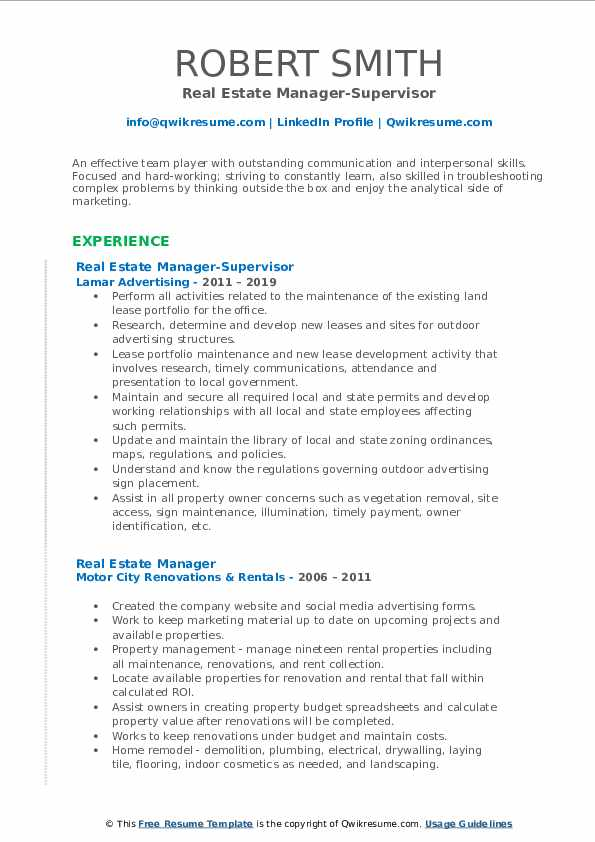 Real Estate Manager-Supervisor Resume Template