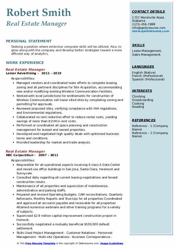Real Estate Manager Resume example