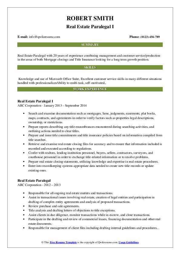 real estate paralegal resume samples