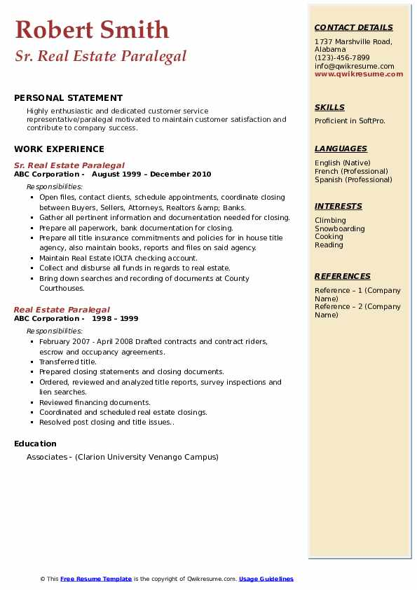 real estate paralegal resume samples
