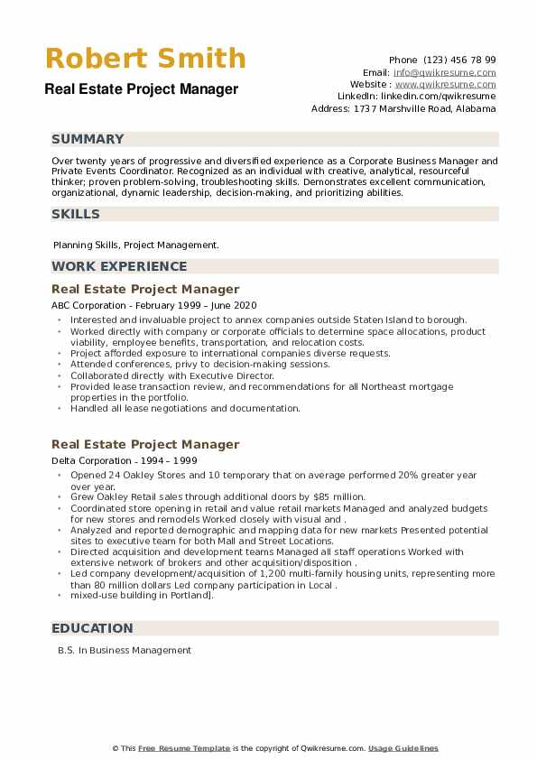 Real Estate Project Manager Resume example