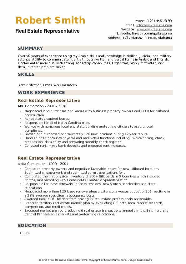 Real Estate Representative Resume example
