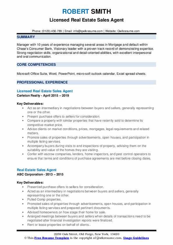 Licensed Real Estate Sales Agent Resume Sample