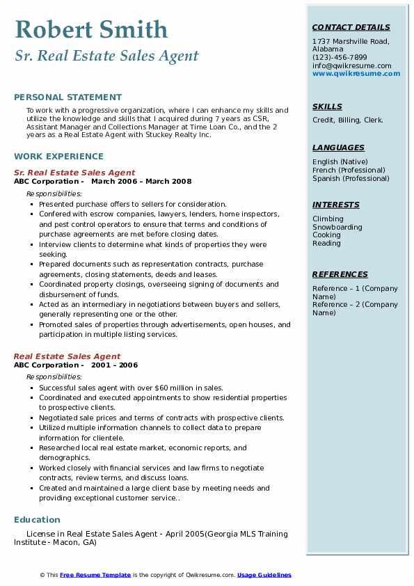 Sr. Real Estate Sales Agent Resume Model