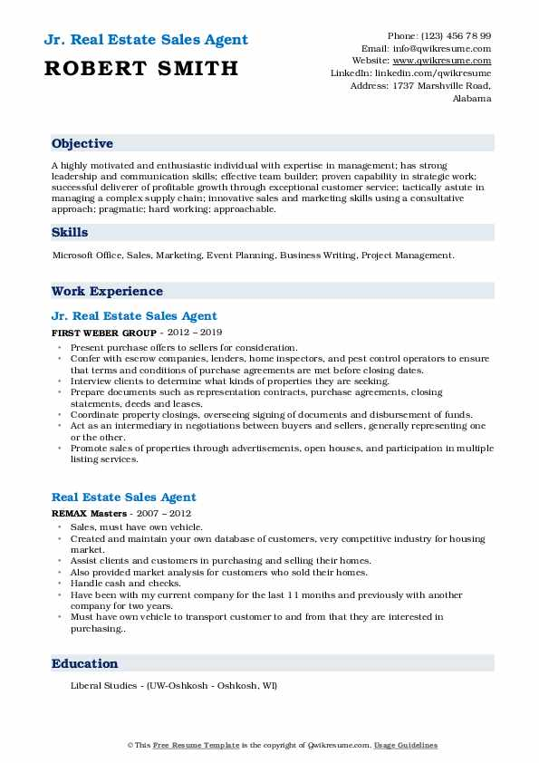 Jr. Real Estate Sales Agent Resume Example