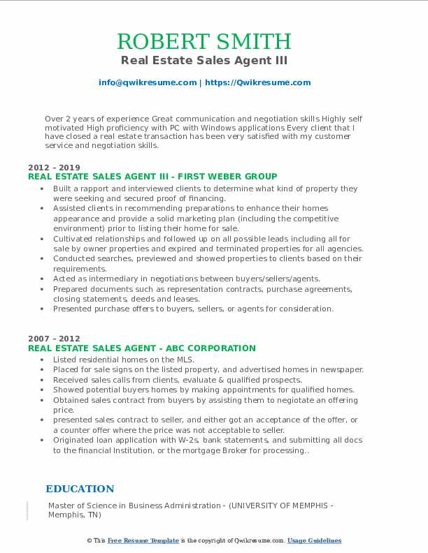 Real Estate Sales Agent III Resume Template