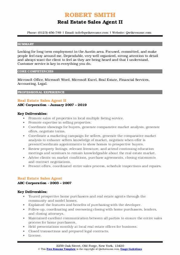Real Estate Sales Agent II Resume Model