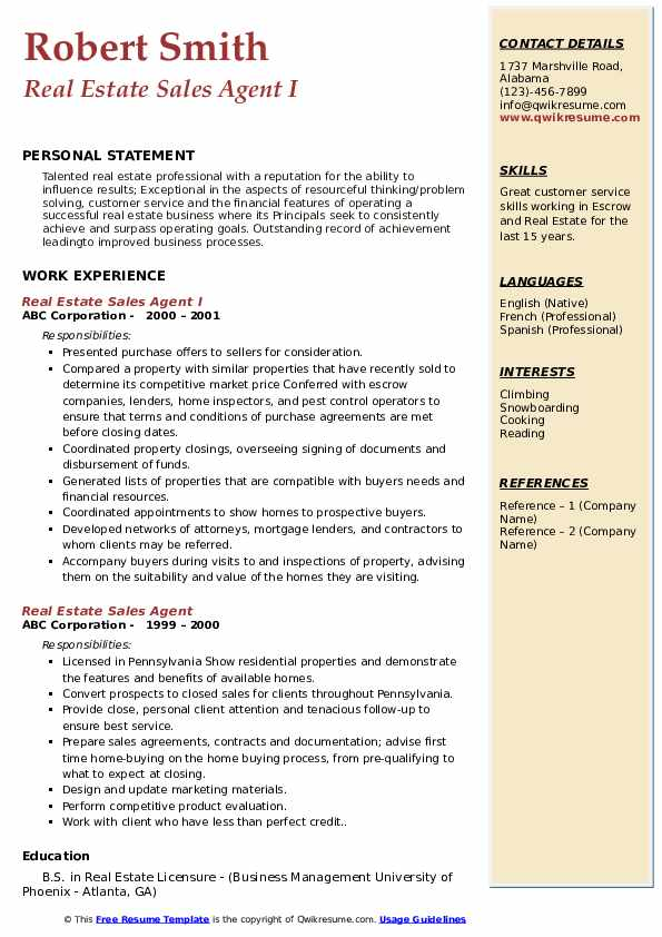 Real Estate Sales Agent I Resume Example