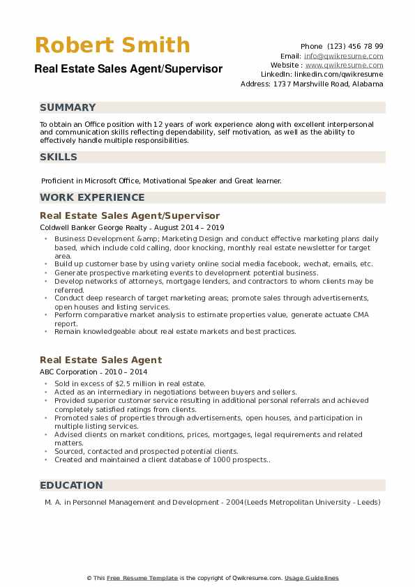 Real Estate Sales Agent/Supervisor Resume Example