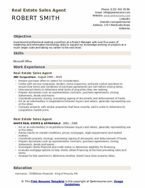 Real Estate Sales Agent Resume example