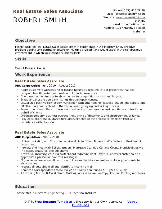 Real Estate Sales Associate Resume Model