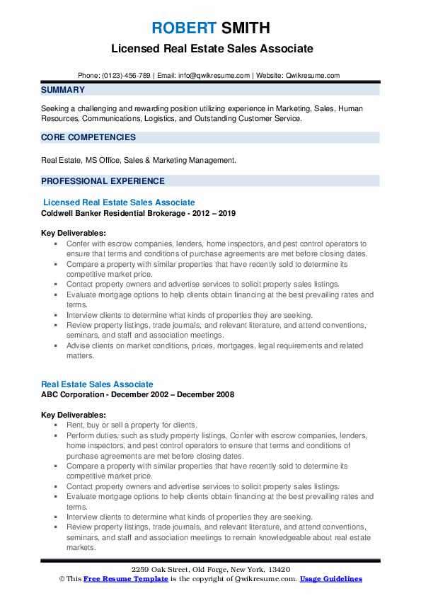 Licensed Real Estate Sales Associate Resume Model