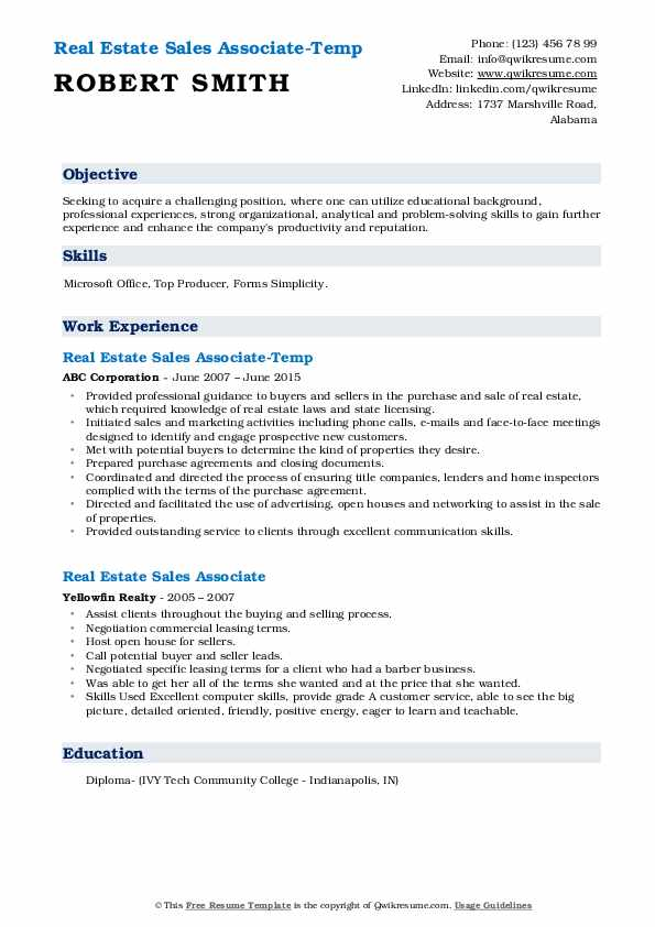 Real Estate Sales Associate-Temp Resume Sample
