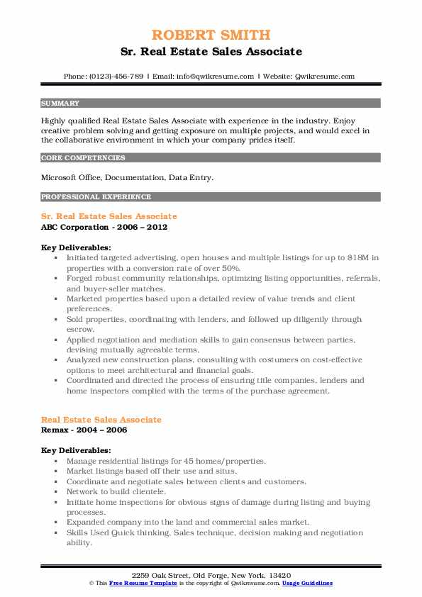 Sr. Real Estate Sales Associate Resume Example
