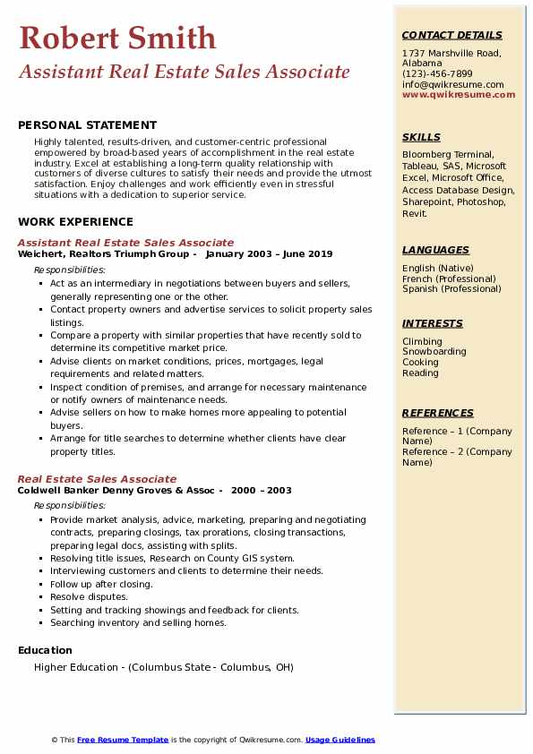 Assistant Real Estate Sales Associate Resume Format