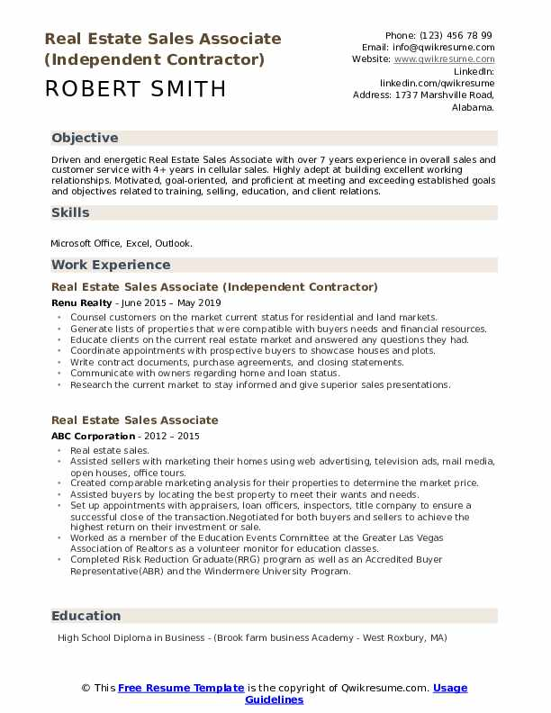 Real Estate Sales Associate (Independent Contractor) Resume Template