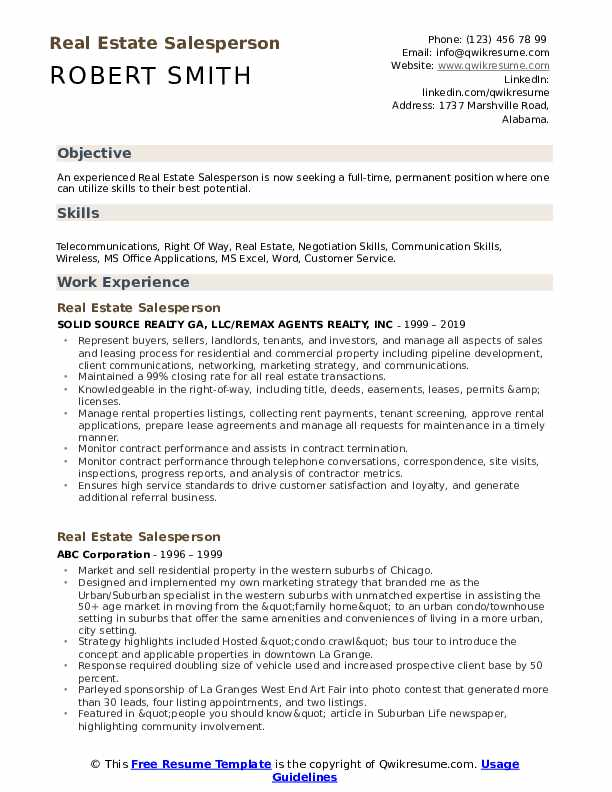 Real Estate Salesperson Resume Model
