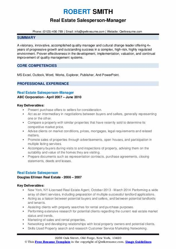 Real Estate Salesperson-Manager Resume Example