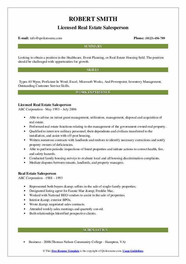 Licensed Real Estate Salesperson Resume Template