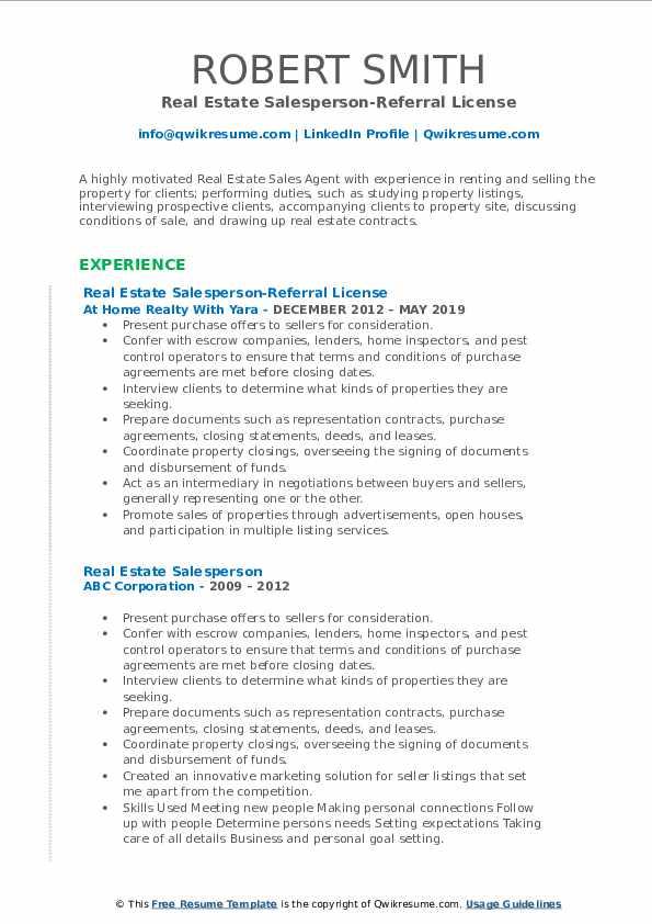 Real Estate Salesperson-Referral License Resume Model