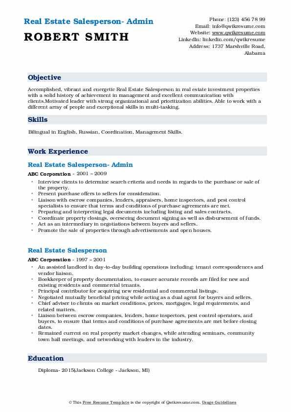 Real Estate Salesperson- Admin Resume Example