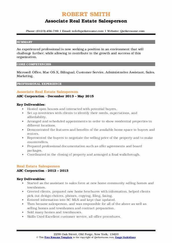 Associate Real Estate Salesperson Resume Example