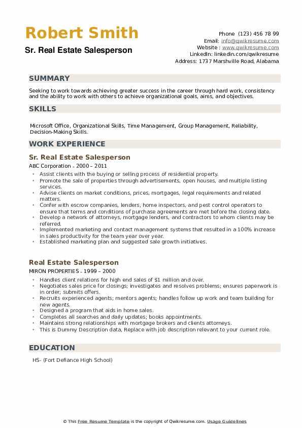 Sr. Real Estate Salesperson Resume Format