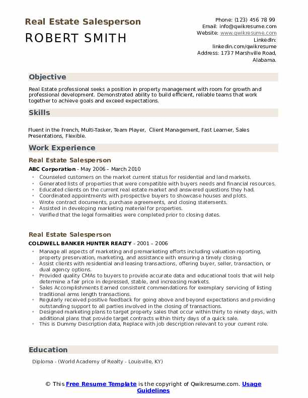Real Estate Salesperson Resume example
