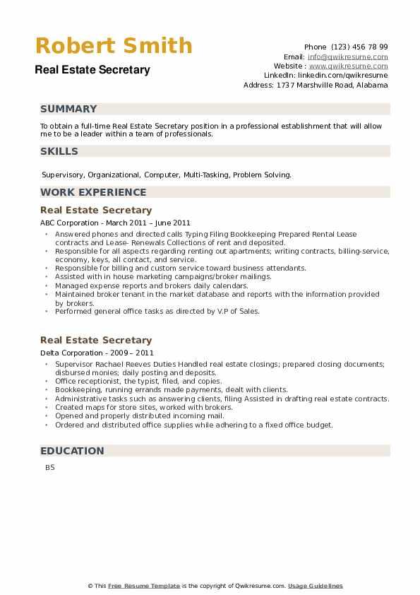 Real Estate Secretary Resume example