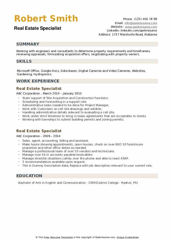 Real Estate Specialist Resume example