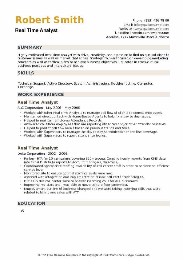 Real Time Analyst Resume example