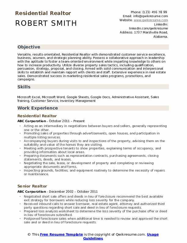 Residential Realtor Resume Model