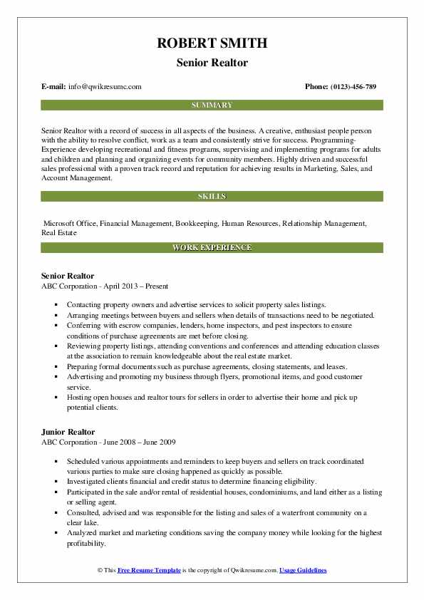Senior Realtor Resume Model