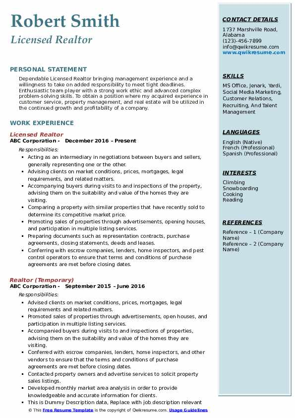 Licensed Realtor Resume Example