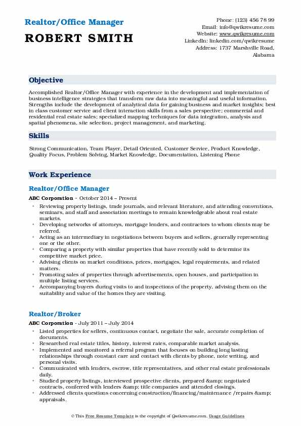 Realtor/Office Manager Resume Format