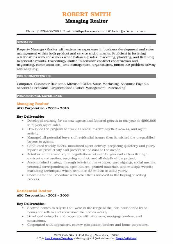 Managing Realtor Resume Template