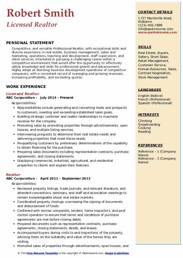 Licensed Realtor Resume Sample