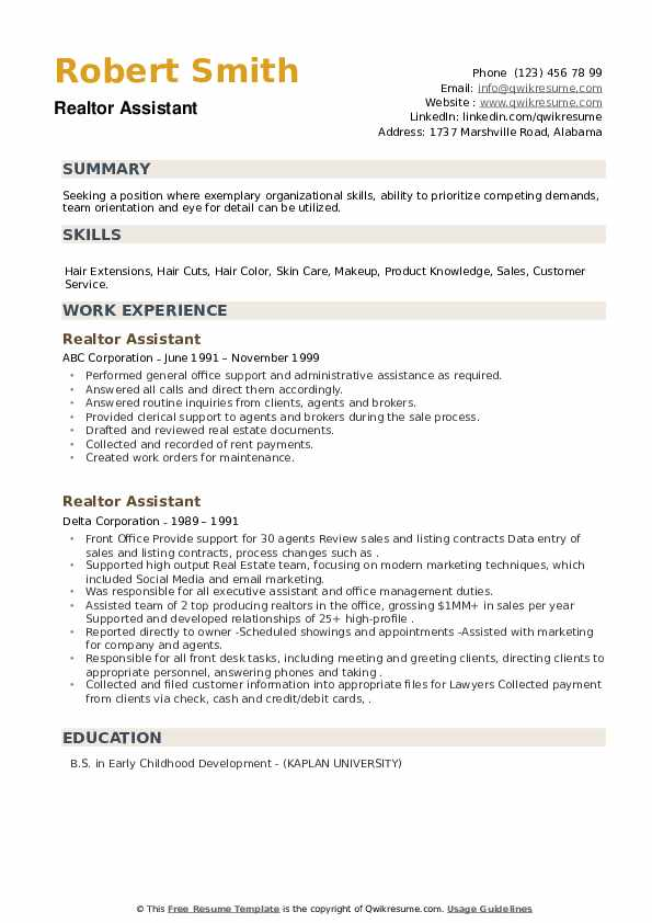 Realtor Assistant Resume example