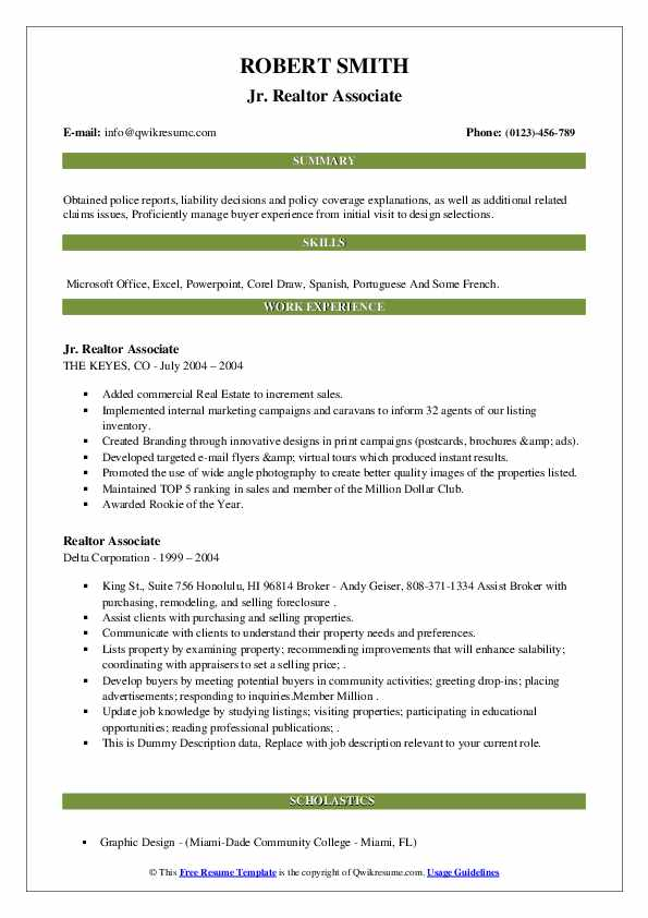 realtor associate resume samples