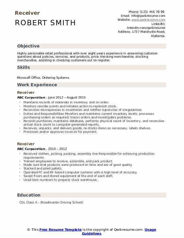 Receiver Resume Sample