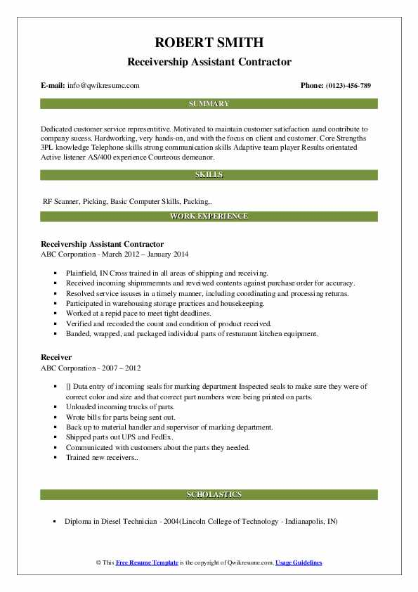 Receivership Assistant Contractor Resume Model