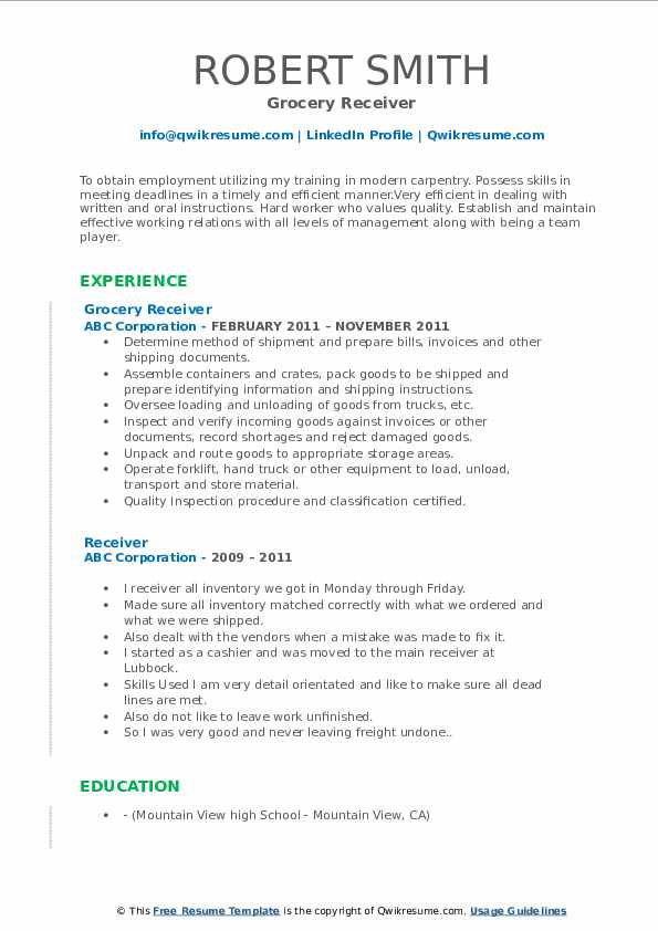 Grocery Receiver Resume Format